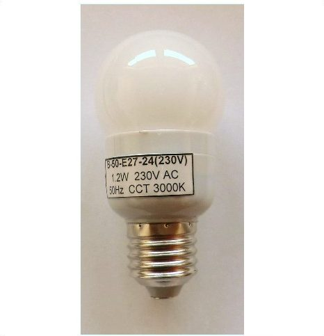 230V/24 LED PÆRE E27/1,0W , varm/hvid Ø 50 mm