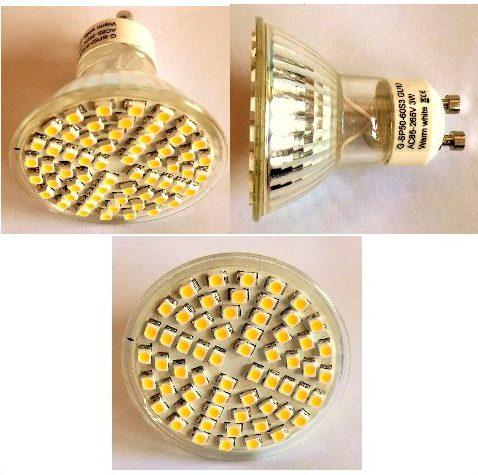 3W 230V/60 SMD LED PÆRE GU10 varm/hvid (85-265VAC)