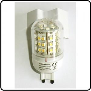 G9 LEDpære 48 SMD, 230V/2,5W, varm/hvid