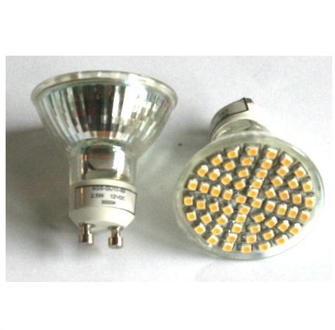 12V/60 SMD LED Pære GU10 Fatning, varm/hvid