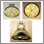 12 SMD LED MR11/G4 spot,3Watt, 12/24V - Varm/Hvid