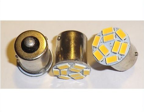 Auto LED pære, BA15S, 1,8W -Varm/Hvid