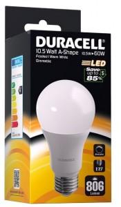 LED pære Duracell -A22 230V/10,5W, 806Lumen, E27 - dæmpbar