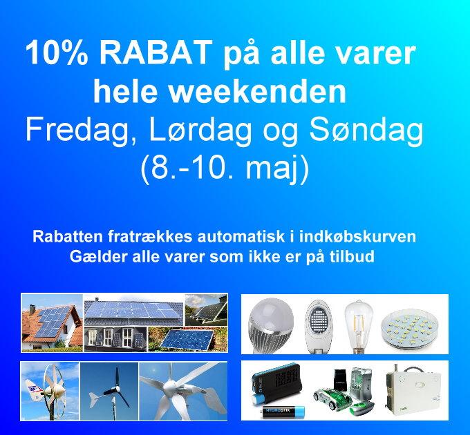 10 % rabat på alle varer, hele weekenden fra den 8. til den 10. maj